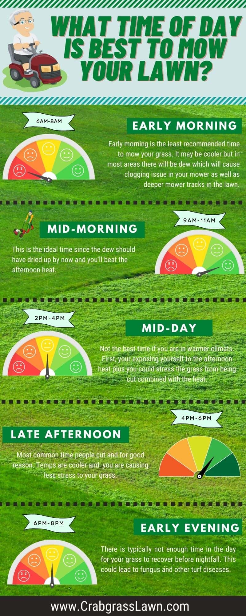 what is the best time of day to mow your lawn infographic